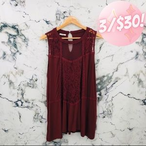 💖3/$30💖 Maurices Lace Sleeveless Top Maroon